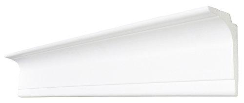 DECOSA Zierprofil L100 SASKIA - Multifunktionale Stuckleiste in Weiß - 1 Leiste à 2 m Länge = 2 m - Licht- oder Gardinen-Leiste - Styropor 60 x 100 mm - Für Decke oder Wand