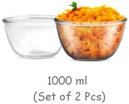 Treo Glass Mixing Bowl, 1000ml, Multicolour, Set of 2