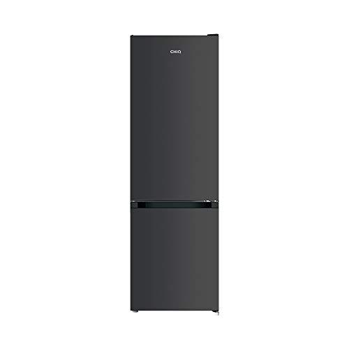 CHiQ FBM260L Freistehender Kühlschrank mit Gefrierfach 260L | Kühl-Gefrierkombination Low-frost Technologie | 176 x 54 x 55 cm (HxBxT) | 12 Jahre Garantie auf den Kompressor*, Dunkler Edelstahl Look