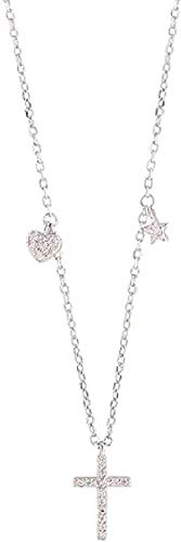 huangshuhua Collar Mujer Collar Cruz Collar Micro- Set Collar Simple Lindo Temperamento Regalo de la joyería