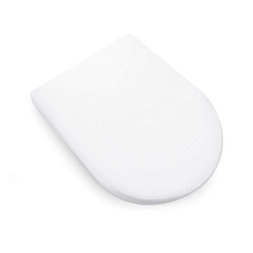 Tapa WC en Forma de D, DALMO Asiento Inodoro Universal con Cierre Suave, Tapa Inodoro Antideslizante y Silencioso, Asiento para WC con Fácil de Limpiar