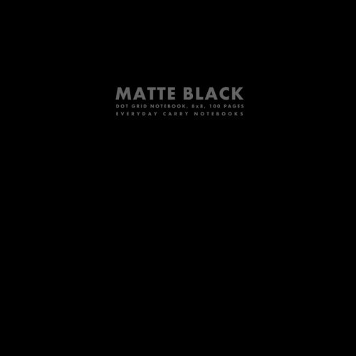 Matte Black Dot Grid Notebook, 8x8, 100 Pages (Big Square Sized Notebooks)