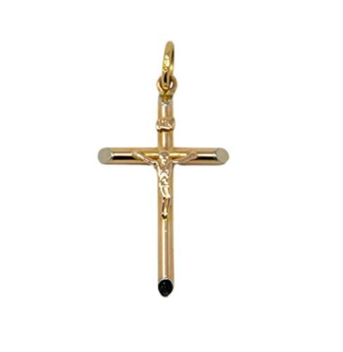 Colgante de cruz de oro amarillo blanco y rosa de 18 quilates 750, tres colores tubulares para bautizo con Jesús para hombre y mujer unisex