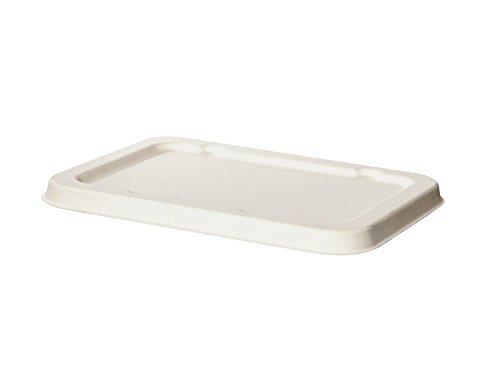 BIOZOYG 125x Tapa desechable de caña orgánica para vajillas Desechables Biodegradable I cobertera de envases Desechables de Comida Rectangular 12x17 cm I Blanca, pelada