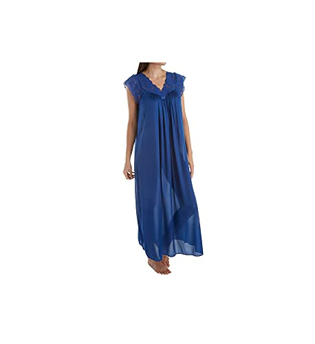 "Shadowline Women's Silhouette Plus Size 53"" Short Cap Sleeve Long Gown, Navy, 2X"