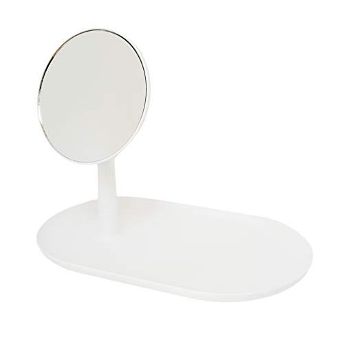 Make-up-Schminktisch mit Spiegel, 360 Grad drehbar, mit Zubehörablage (weiß)