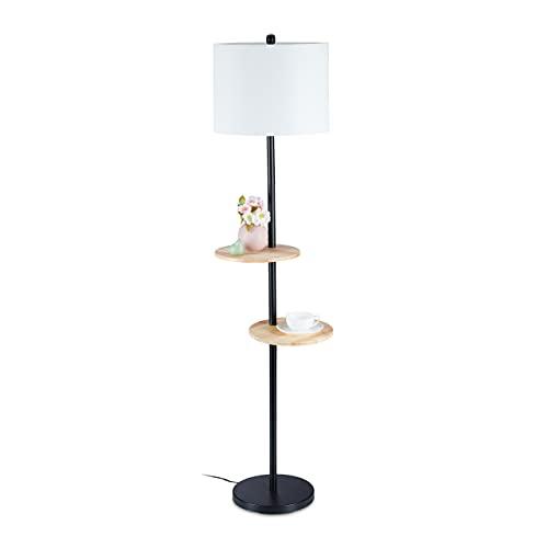 Relaxdays Lámpara de pie con mesas, 159 x 45 x 38 cm, 2 estantes, pantalla de tela, casquillo E27, metal, madera, negro/blanco