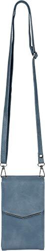 styleBREAKER Damen Mini Bag Umhängetasche, mit Metall Detail am Umschlag, Handytasche, Schultertasche, Handtasche 02012353, Farbe:Jeansblau-Türkis