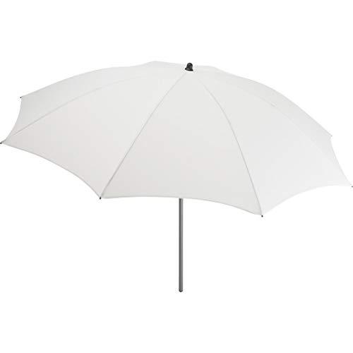 FARE Sonnenschirm Modern Gr. M - 177cm Durchmesser - UV-Schutz 50+ für Balkon Garten Terrasse Sommer - Titan-Finish inkl. Drehfeststeller Sicherheitsschieber Tragetasche (Weiß)