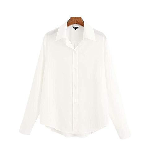 MujeresSueltas Blusa Blanca Negra Manga Larga Oficina Desgaste Camisa sólida Mujer Casual Elegante
