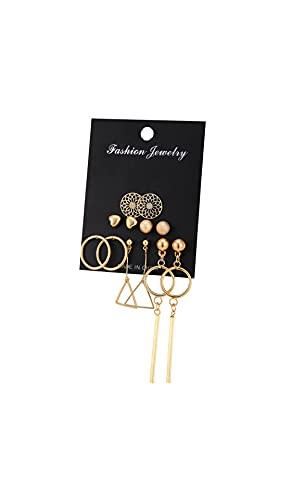 Nuevos pendientes de aro para las mujeres de color oro pendientes de moda conjunto con tachuelas