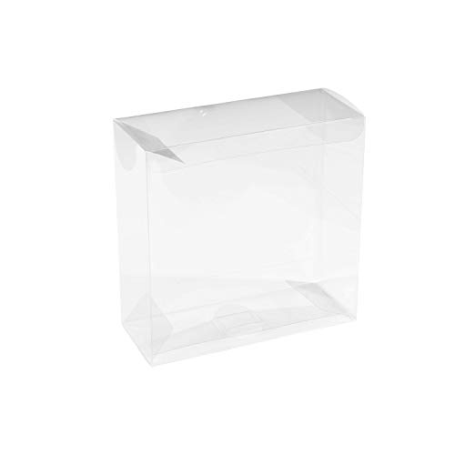 """Clear PET Plastic Storage Boxes – Transparent Gift Boxes, Empty Containers Packing Box for Party Favors Ideal for Cookies, Ornament, Gifts, Wedding, Birthday and Parties 6""""x6""""x2.5"""" (8 Pack)"""