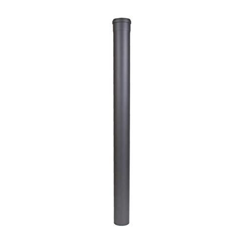 LANZZAS Pelletrohr Verlängerung 1000 mm, im Durchmesser DN Ø 80 mm, in gussgrau, Pelletrohr-, Ofenrohr-, Rauchrohr- Verlängerung, für Ihren Pelletofen