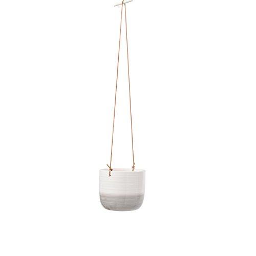 Burgon & Ball - Pot de fleurs émaillé à suspendre avec design ondulé Gris et blanc