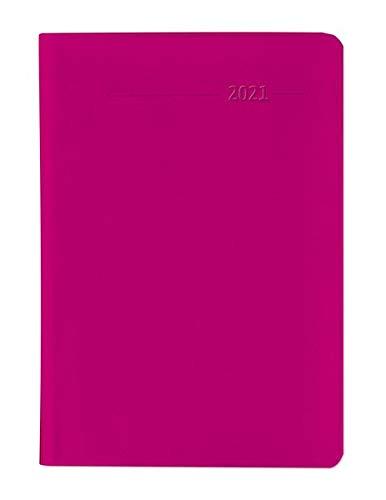Taschenkalender Buch PVC himbeerrot 2021 - Büro-Kalender 8x11,5 cm - 1 Woche 2 Seiten - 144 Seiten - Notiz-Heft - Alpha Edition
