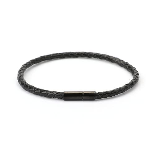 Pulsera de cuero negro hecha a mano de los hombres de la joyería del corchete de