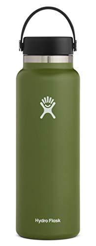 Hydro Flask Trinkflasche, Edelstahl und vakuumisoliert, große Öffnung mit auslaufsicherer Flex Cap, Olive, 1180ml (40oz)