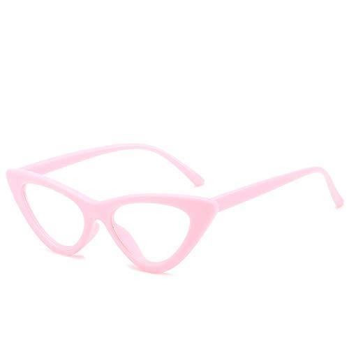 HAOMAO Gafas de Ojo de Gato Transparentes con Montura de Mujer, Gafas de diseñador, Rosa