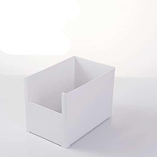 Caja de almacenamiento de escritorio, acabado de gabinete, caja de almacenamiento de armario de plástico, caja de acabado de partición de cajón multifuncional de cocina, ancho medio blanco