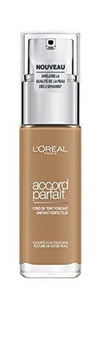 L'Oréal Paris Make-Up Designer Accord Parfait, Foundation fondotinta Flacone a pompa Liquido 30 ml, Cappuccino Doré 8.D