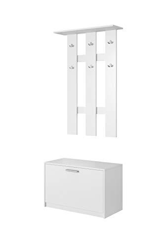 E-Com Mobile da Ingresso - 80 cm Bianco Set arredo Ingresso Armadio da Ingresso Guardaroba