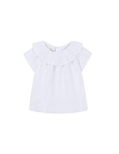 Gocco Blusa Cuello Volante (Blanco WA), 80 (Tamaño del Fabricante:9/12) para Bebés