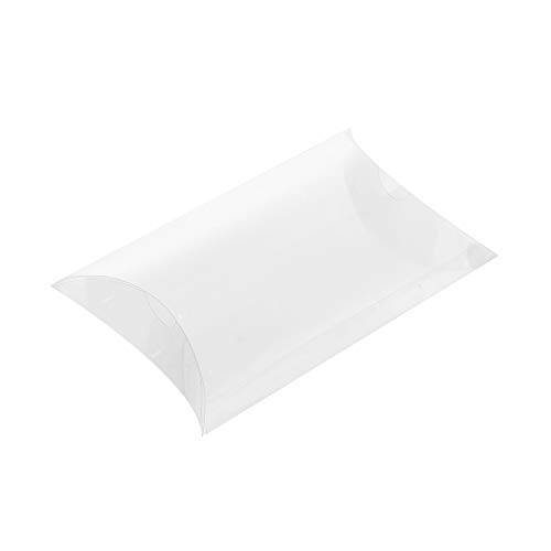 Ezek 20pcs Clear Pillow Gift Boxes 5 x 4.1 x 1.6 inches Transparent Container for Present Ornaments Jewelry Accessories Flowers Christmas Wedding Birthday Party Baby Shower Favors.