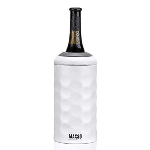 Maxso Wine Chiller, Premium Iceless Wine Cooler Keeps Wine Cold up to 6 Hours, Vacuum Insulate Wine Accessory Fits Most 750ml Champagne Bottles, Wine Gifts for Women
