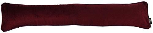 McAlister Textiles Matter Samt | Zugluftstopper mit Füllung | 18cm x 90cm in Weinrot | Deko Windstopper für Fenster, Türen im Designer Plüsch