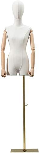 ZSY Maniquíes de Costura Cuerpo del Torso con Brazos de Madera Maciza y Cabeza de Soporte Dorado Ajustable a la exhibición de la joyería de la Ropa. (Color : White)