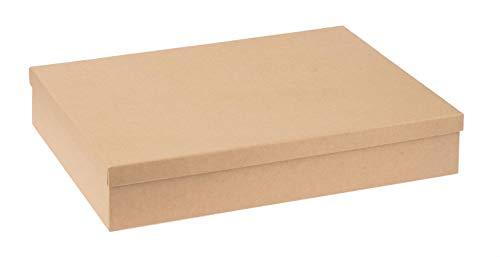 Pappbox rechteckig, Schachtel mit Deckel aus FSC zertifizierter Pappe, ca. 24,7 x 34,7 x 6,4 cm groß, passend für DIN A4, zum Bekleben, Bemalen, für Decopatch oder Serviettentechnik