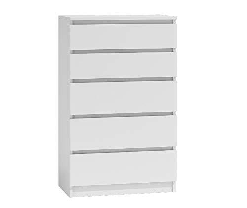 Shumee Kommode Geräumiger Schrank 5 Schubladen 40x70x112 cm Malwa M5 Sideboard Anrichte Highboard Weiß
