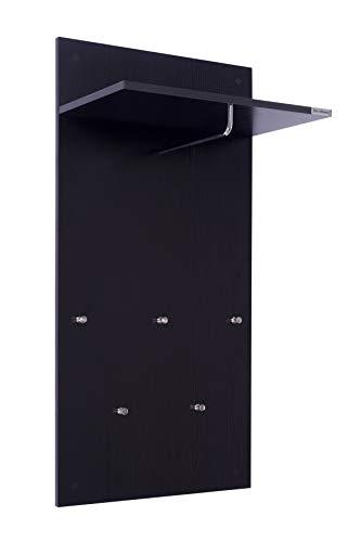 ts-ideen Garderobe Wandgarderobe Flur Diele Paneel Hakenleiste Holz Schwarz mit 5 Haken, Ablage und einer Stange in 100 x 49 cm