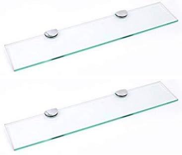 BSM Marketing Juego de 2 estantes de cristal endurecido de 500 mm x 100 mm de grosor de 6 mm con gran acabado cromado