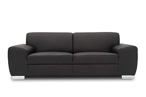 DOMO. collection Ricardo Couch 3-Sitzer Sofa/Breite: 224 cm, Garnituren mit Federkern in Kunstleder, schwarz, 224x95x81 cm