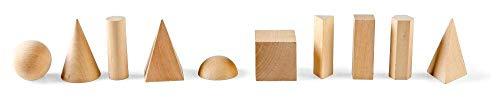 hand2mind Wood Geometric Solid Blocks, 3D Shapes (Set of 10) -41-10