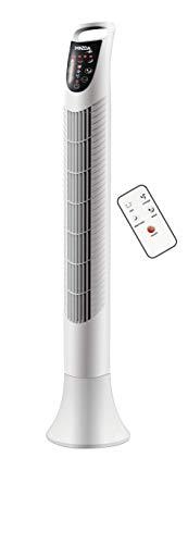 Mazda SMART 10 - Ventilador de columna con control digital y mando a distancia, ventilador de oscilación ajustable, color blanco