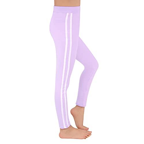 L&K-II Kinder Mädchen Sportleggings mit Seitenstreifen Training Laufhose Sporthose Capri Pant aus Baumwolle 2701 Lila 134