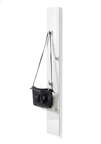 Stella Trading COLOR NEW Garderobenpaneel in Weiß Hochglanz - Platzsparende Garderobenleiste mit zuverlässigen Wandhaken für Jacken & Taschen - 14 x 115 x 2 cm (B/H/T)