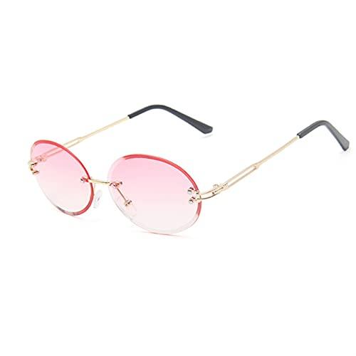 YSJJXTB Gafas de Sol Gafas de Sol Mujeres Retro Metal Sin Marco de Soles Gafas de Sol Oval UV400 Azul Mujer Eyeeglasses Gradiente Acrílico Lente Rosa Gafas Gafas (Lenses Color : C9)