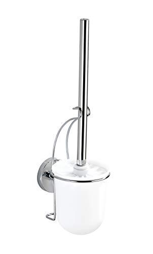 WENKO Vacuum-Loc Wand WC-Garnitur Milazzo, Toilettenbürste mit Bürstenhalter, WC Bürste ohne bohren für das Bad, verchromtes Metall mit Kunststoffeinsatz in Weiß, 10 x 36,5 x 12 cm