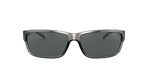 Arnette An4271 Óculos de sol masculinos retangulares Zoro, Transparent Grey/Grey, 63 mm