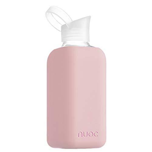 NUOC - Botella de agua cristal | 800 ml. | Rosa Palo | Botella de Agua Reutilizable | Botella de Cristal | Funda de Silicona | Bebidas Frías y Calientes | sin BPA | Ecológica | Deporte, Oficina