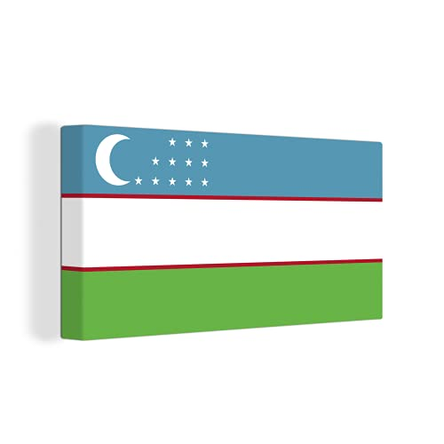 Leinwandbild - Flagge Usbekistan - 160x80 cm