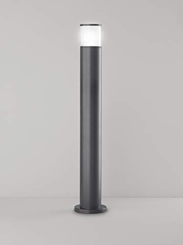 PERENZ Lampada da esterno in Alluminio colore Grafite con diffusore in Vetro Protezione IP44 Diametro 16 cm Altezza 90 cm Lampadina 1xE27 max. 40W non inclusa
