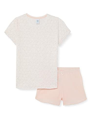 Sanetta Mädchen Schlafanzug kurz beige Pyjamaset, White Pebble, 140