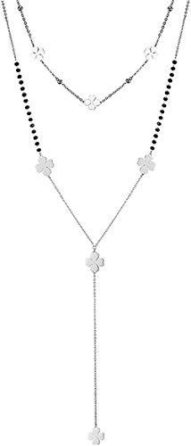niuziyanfa Co.,ltd Collar Mujer Collares Collar de Cadena Larga de Doble Capa de Acero Inoxidable para Mujer Gargantilla pequeña Collar Largo Joyería de Fiesta de Moda