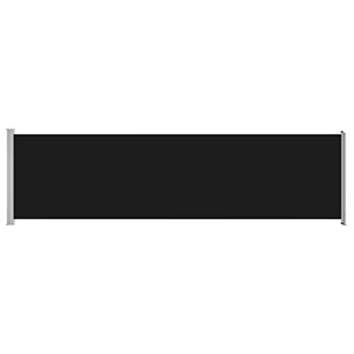 vidaXL Toldo Lateral Retráctil de Jardín Separador Terraza Balcón Pantalla Solar Viento Enrollable Función Retroceso Automático Negro 600x170 cm