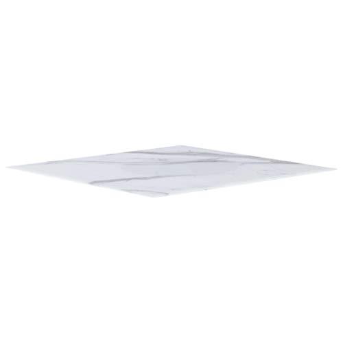 UnfadeMemory Tischplatte Glas Tischplatten ideal als Ersatzteil Glasplatte in Marmoroptik DIY Tisch für Esstisch Couchtisch Beistelltisch oder Gartentische(Quadratisch 70 x 70 cm, Weiß)