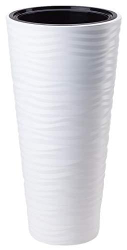 Pot de fleurs Sahara avec insert, blanc, structure ondulée, brillant, 57 cm
